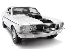 "Load image into Gallery viewer, 1968 Ford Mustang GT 428 ""Cobra Jet"" 1:18 Scale - Maisto Diecast Model Car (White)"