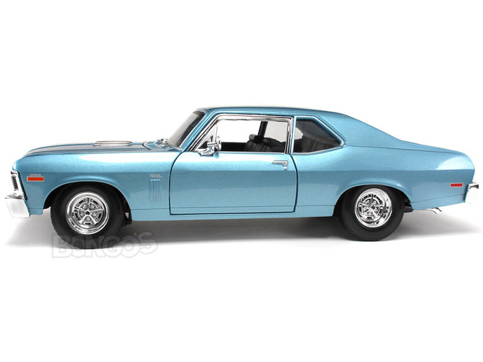 1970 Chevy Nova SS 396 1:18 Scale - Maisto Diecast Model Car (Blue)