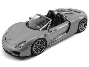 Porsche 918 Spyder 1:18 Scale - Welly Diecast Model Car (Grey/Roof Off)
