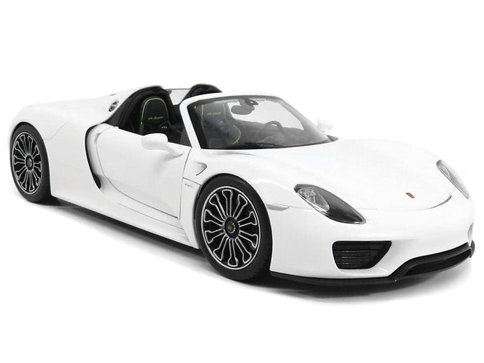 Porsche 918 Spyder 1:18 Scale - Welly Diecast Model Car (White/Roof Off)