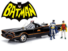 "Load image into Gallery viewer, ""1966 BATMAN TV Version"" - Batmobile w/ Batman & Robin Figures & Working Lights 1:18 Scale - Jada Diecast Model Car"