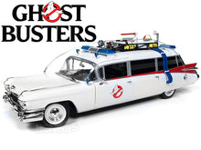 "Load image into Gallery viewer, ""Ghostbusters - ECTO-1"" 1959 Cadillac Ambulance 1:18 Scale - Autoworld Diecast Model Car"