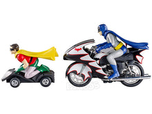 "Load image into Gallery viewer, BATCYCLE - ""ELITE Version - 1966 TV Version w/ Figures"" 1:12 Scale - Hot Wheels Diecast Model"