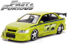 "Load image into Gallery viewer, ""Fast & Furious"" Brian's Mitsubishi Lancer 1:24 Scale - Jada Diecast Model Car (Green)"