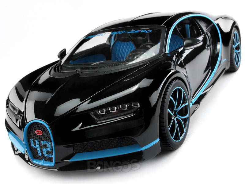 Bugatti Chiron #42 (0-400-0 in 42 Secs) Limited Edition 1:18 Scale - Bburago Diecast Model Car (42/Black)