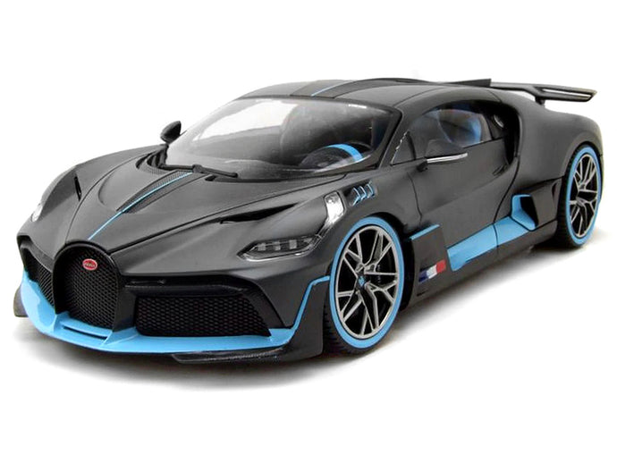 Bugatti Chiron Divo 1:18 Scale - Bburago Diecast Model Car (Grey/Blue)