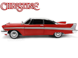 """Christine"" 1958 Plymouth Fury (Nighttime) 1:18 Scale - AutoWorld Diecast Model Car (Red)"