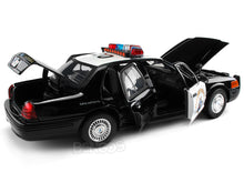 Load image into Gallery viewer, 2001 Ford Crown Victoria Police Interceptor California Highway Patrol 1:18 Scale - MotorMax Diecast Model Car (B/W)