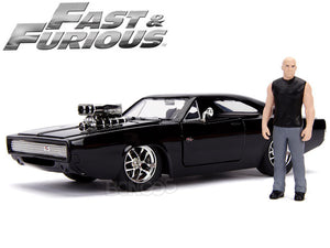 """Fast & Furious"" Dom's 1970 Dodge Charger R/T w/ Figure 1:24 Scale - Jada Diecast Model (Gloss Black)"