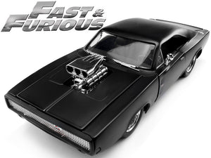 """Fast & Furious"" Dom's 1970 Dodge Charger R/T 1:24 Scale - Jada Diecast Model Car (Matt Black)"
