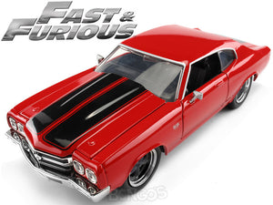 """Fast & Furious"" Dom's 1970 Chevy Chevelle SS 454 1:24 Scale - Jada Diecast Model Car (Red)"