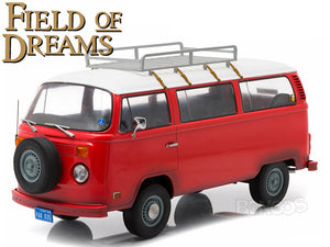 """Field of Dreams"" 1973 VW Type 2 Bus (T2B) 1:18 Scale - Greenlight Diecast Model Car (Red)"
