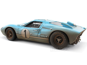 1966 Ford GT-40 (GT40) Mk II #1 Le Mans Miles/Hulme 1:18 Scale - Shelby Collectables Diecast Model Car (Gulf/Dirty)