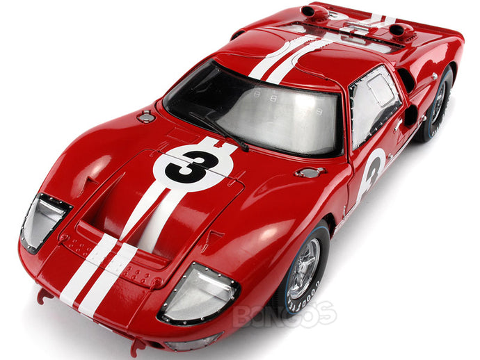 1966 Ford GT-40 (GT40) Mk II #3 Le Mans Gurney/Grant 1:18 Scale - Shelby Collectables Diecast Model Car (Red)