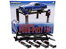 "Load image into Gallery viewer, ""Ford/Shelby"" 4-Post Lift (Hoist) 1:18 Scale - Greenlight Diecast Model (Black)"
