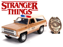 "Load image into Gallery viewer, ""Stranger Things"" Hopper's Chevy Blazer w/ Police Badge 1:24 Scale - Jada Diecast Model Car"