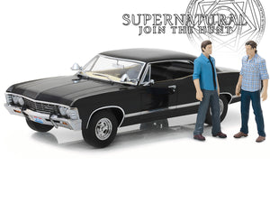 """Supernatural"" 1967 Chevy Impala Sedan w/ Sam & Dean Figures 1:18 Scale - Greenlight Diecast Model"