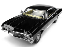 "Load image into Gallery viewer, ""Supernatural"" 1967 Chevy Impala Sedan w/ Sam & Dean Figures 1:18 Scale - Greenlight Diecast Model"
