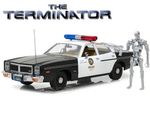 "Load image into Gallery viewer, ""The Terminator"" 1977 Dodge Monaco Metropolitan Police w/ Figure 1:18 Scale - Greenlight Diecast Model"