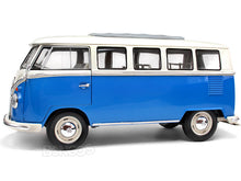 "Load image into Gallery viewer, 1962 VW Microbus ""Kombi"" 1:18 Scale - Welly Diecast Model (Blue)"