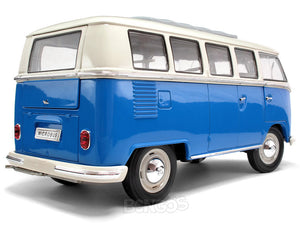 "1962 VW Microbus ""Kombi"" 1:18 Scale - Welly Diecast Model (Blue)"