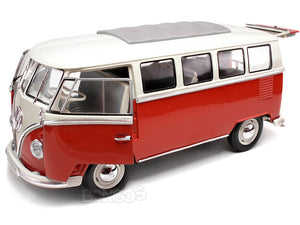 "1962 VW Microbus ""Kombi"" 1:18 Scale - Welly Diecast Model (Red)"