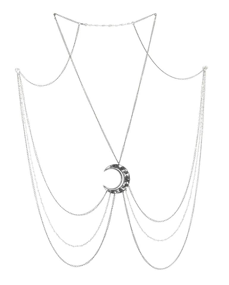 Luna Goddess Body Chain with Crescent Moon and Moonstone Rosary Chains –  MADE TO ORDER