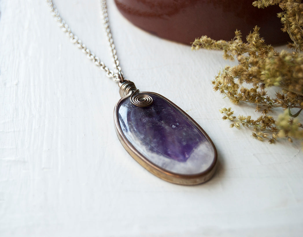 Wire Wrapped Crystal Amethyst Pendant Wire Wrapped Pendant Amethyst Wire Wrapped Pendant Amethyst Necklace Crystal Pendant.
