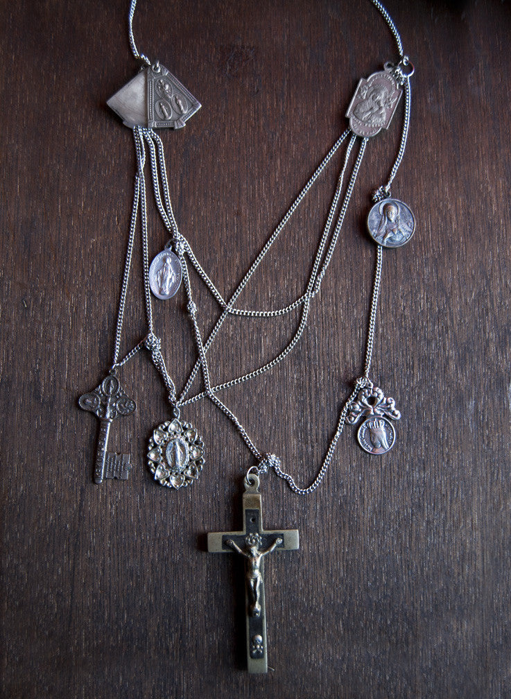 Protector in Chains - Antique Catholic Medals Layered Necklace