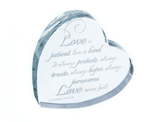 "💕 Trending Item 💕  ""Love Is Patient..."" Heart Shaped Laser Etched Crystal Gift"