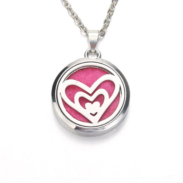 Silver heart in heart  Aroma Diffuser Necklace