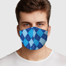 Load image into Gallery viewer, Blue Argyle Face Cover