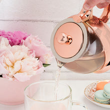 Load image into Gallery viewer, Shelby™ Glass and Rose Gold Teapot by Pinky Up