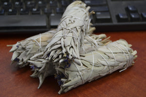 4 Pcs California White And Lavender Sage Bundles