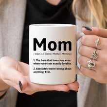 Load image into Gallery viewer, Mom Definition - 11oz White Ceramic Coffee Mug -