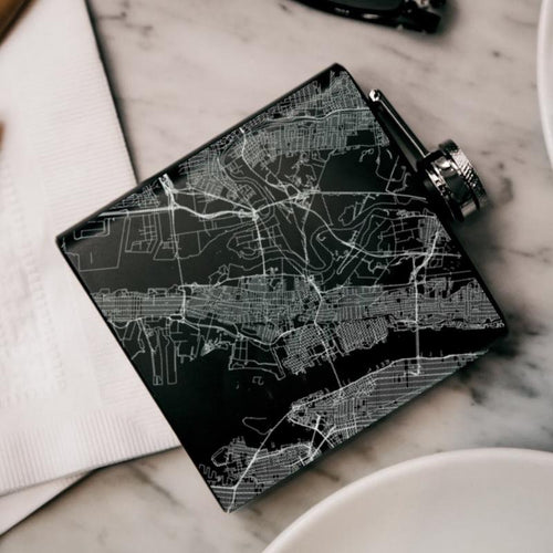 Jersey City - New Jersey Map Hip Flask in Matte Black