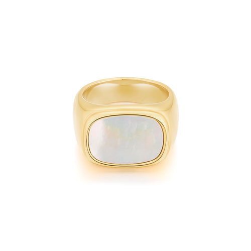 chunky gold ring with natural shell