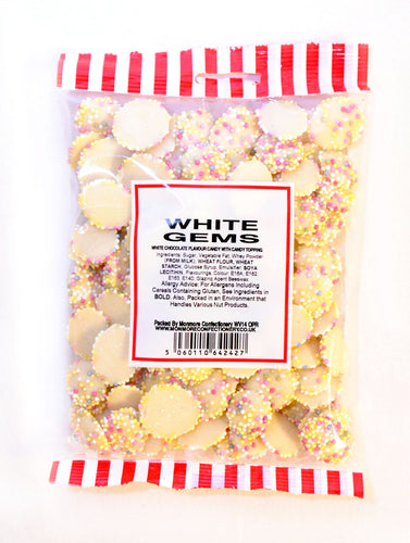 SMALL WHITE CHOCOLATE FLAVOUR JAZZLES (MONMORE) 200G