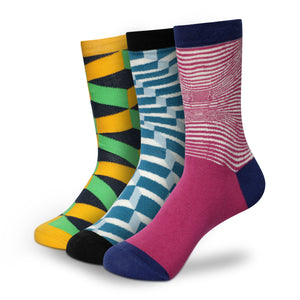 STRIPPY Men's Calf Length Socks Pack of 3