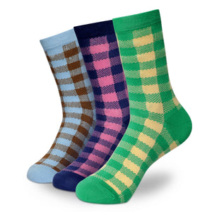 PLAIN CHECKS Men's Calf Length Socks Pack of 3
