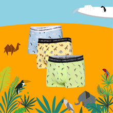 Load image into Gallery viewer, Origami Wildlife Men's Printed Trunks Pack of 3