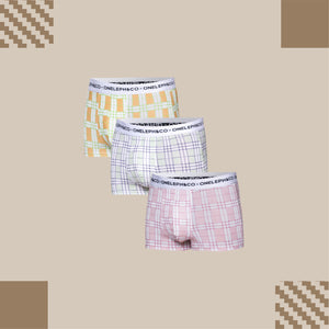 Checkered Men's Printed Trunks Pack of 3
