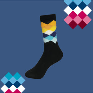 RAINBOW CRISS CROSS Men's Calf Length Socks Pack of 3