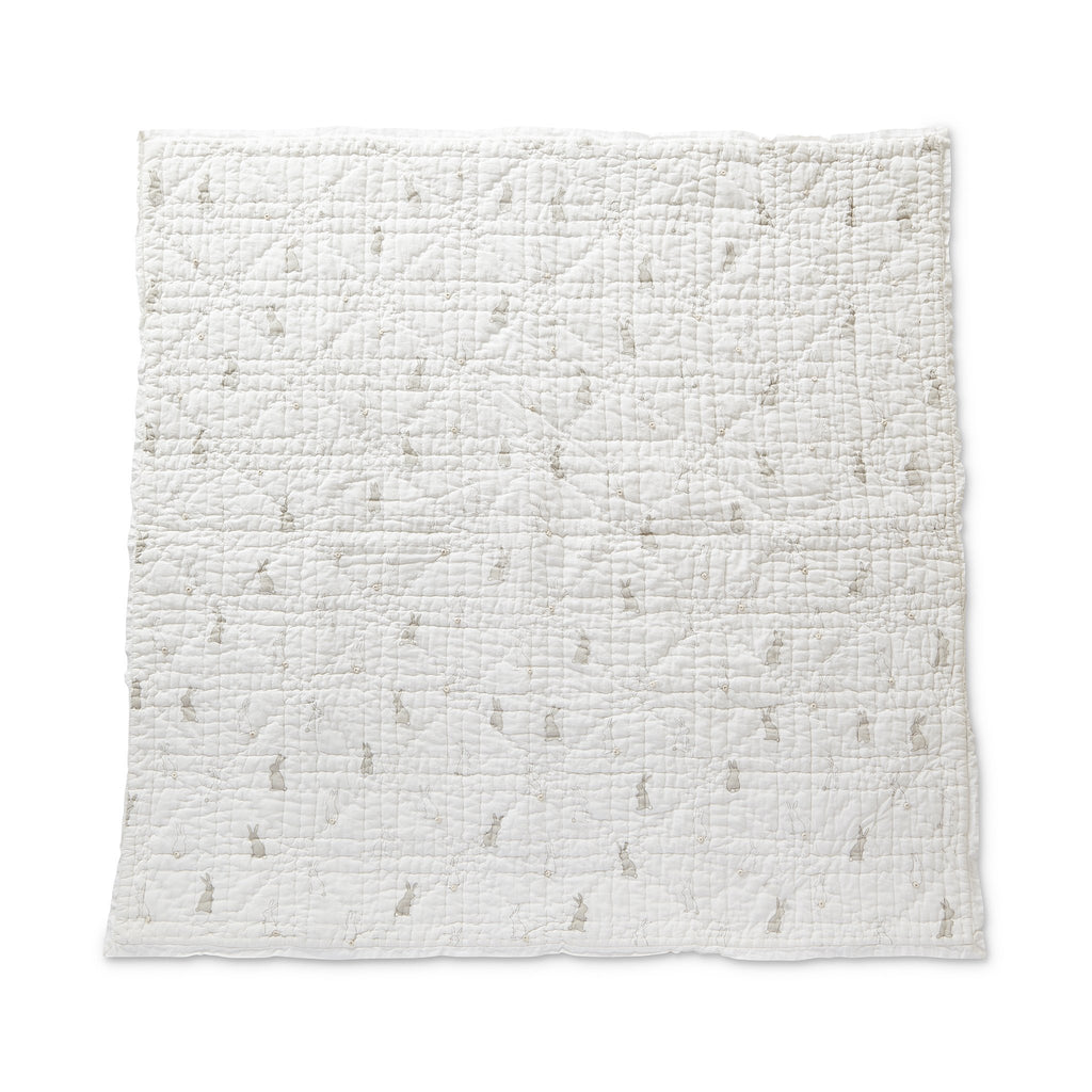 Bunny Hop Quilted Nursery Blanket