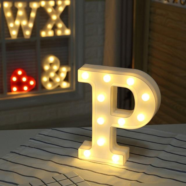 DIY White Plastic Letter LED Night Light Marquee Sign Alphabet Lights Lamp Home Culb Outdoor Indoor Wall Decoration