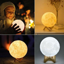 Load image into Gallery viewer, 3D Print Moon lamp Moon light USB LED Rechargeable Novelty Touch Sensor Table Desk lamp Creative Night light Decor Birthday Gift