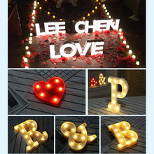 Load image into Gallery viewer, DIY White Plastic Letter LED Night Light Marquee Sign Alphabet Lights Lamp Home Culb Outdoor Indoor Wall Decoration