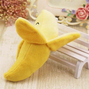 Transer Pet Supply 1pc Plush Banana Shape Dog Squeak Sound Toys Fruit Interactive Cat Dog Toy 80406