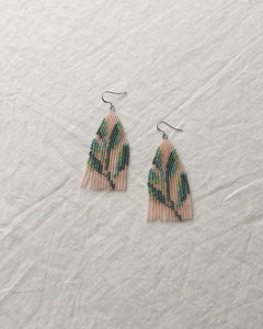 sage earrings - pink background