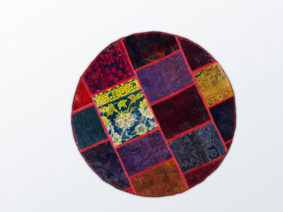 Circle Patchwork 92 cm (dm) - Wool Persian Carpet